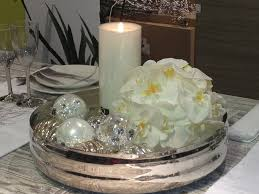 diy christmas candle centerpiece table silver white tree ornaments