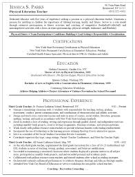 First Job Resume Guide by Samples Of Teacher Resume Resume Sample For Physical Education
