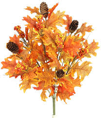 three posts 9 stems artificial maple leaves pine cones and