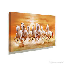 2017 1 panels white horse running home decor wall art picture