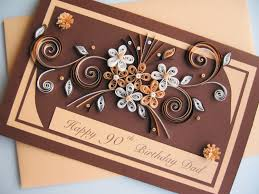 90th birthday card handmade paper quilling card husband