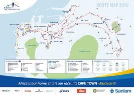 Marathon Route Map by Cape Town Marathon 2016 Route Map Magnolia Road Runners
