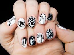 personalized black and white freehand nail chalkboard nails