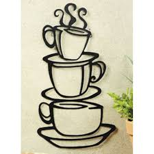 Kitchen Pictures For Walls by Amazon Com Black Coffee Cup Silhouette Metal Wall Art For Home