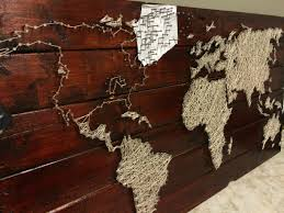Map Art Pallet Project String And Nail World Map Map Wall Art Pallets