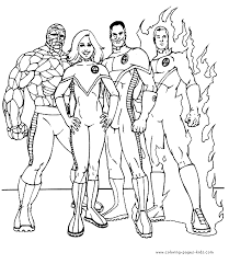 fantastic four color page coloring pages for kids cartoon