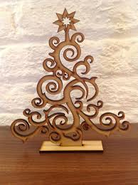 Wood Projects For Xmas Gifts by Set Of 2 Laser Cut Christmas Tree Decoration Gift Xmas Plain Wood