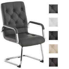 bureau reunion chaise visiteur similicuir luge chromé oscillant accoudoir