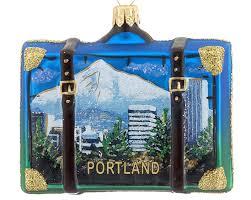 portland travel suitcase personalized ornament