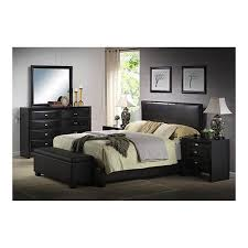 Modern Queen Size Bed Frame Queen Size Faux Leather Bed Frame Upholstered Platform Headboard