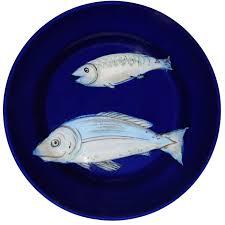 Home Blue Fish Set Of 6 Blue Fish Dessert Plates Shop Este Ceramiche E