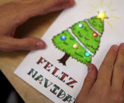 holiday cards with chibitronics blinking led circuit stickers