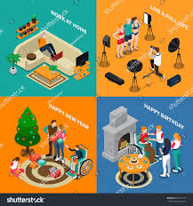 graphic design works at home disabled people isometric compositions work home stock vector