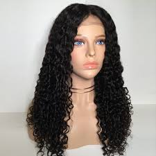long middle part deep wave curly lace front synthetic wig in black