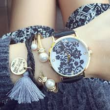 bracelet bands ebay images Lace print women 39 s ladies alloy metal leather band watches white jpg