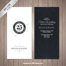 silver wedding anniversary invitation vector free