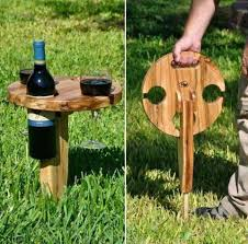 outdoor wine glass holder table for ron swanson to approve it will hold a bottle of whiskey and 2