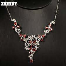 sterling silver wedding necklace images Natural garnet gem stone wedding necklace 925 sterling silver jpg