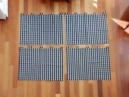 Lined Cotton Curtains Four Blue U0026 Tan Plaid Lined Cotton Curtains With Tab Top Ebay