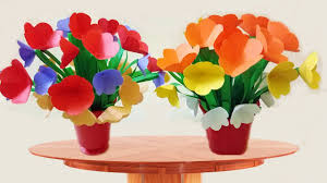 How To Decorate Flower Vase How To Make A Beautifu Paper Flower Vase For Room Decoration