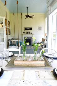 hanging curtains from ceiling southern fixer upper makeover love the blue planked ceiling