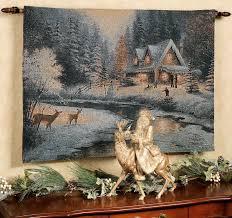 family at deer creek fiber optic tapestry wall hanging
