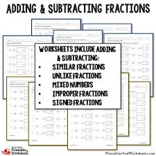 adding and subtracting fractions worksheets bundle printables