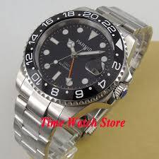sapphire crystal bracelet images 40mm parnis gmt men 39 s watch sapphire crystal ceramic bezel jpg