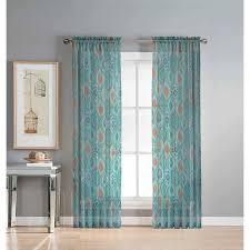 Sheer Grommet Curtains Olina Printed Sheer Grommet Curtain Panel Walmart Com