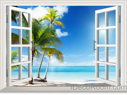 palm tree beach wall decals 3d window by 3dwindowwallstickers sunshine coast palm tree cloud 3d window view removable wall decals stickers home decor arts wall
