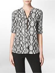 snake print blouse calvin klein snake print zip front roll up sleeve top where to