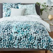Teal Duvet Cover 400 Thread Count Organic Sateen Canopy Duvet Cover Shams Blue