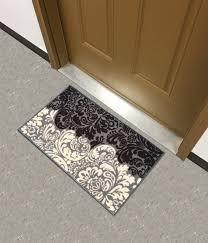 Damask Kitchen Rug Backed Matblack Ivory Floral Damask Doormat Accent Non Slip Rug