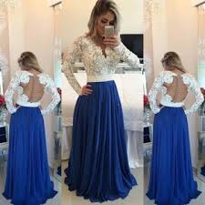 lolipromdress review 49 off blue a line v neck long sleeves backless appliques prom