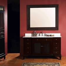 dark brown wooden bathroom vanity with white top and sink also