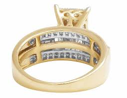 cinderella engagement ring 10k yellow gold bridal baguette princess cut diamonds wedding