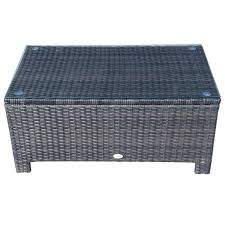 rattan coffee table outdoor rattan coffee table with glass top brown outsunny aosom uk