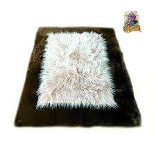 Faux Fur Throw Rugs Accents Faux Fur Rectangle Shag Sheepskin Throw Rug Border