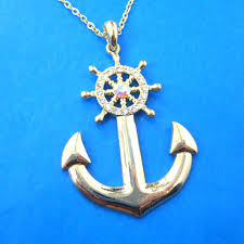 shaped pendant necklace images Nautical anchor and wheel pendant necklace in gold with JPG