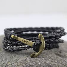 leather braided anchor bracelet images Braided leather rope anchor bracelet 100 hot deals jpg