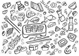 jeux de cuisine japonaise cuisine japonaise sushi doodle jeu image vectorielle netkoff