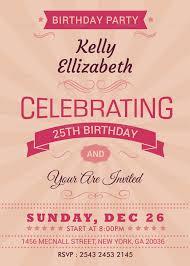 happy retro birthday party invitation card design template in psd