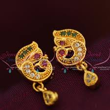 small earrings design e7718 peacock traditional design jewellery screwback south