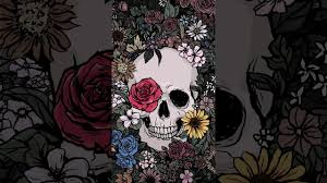 skull of flower garden moh wallpaper