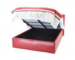 metal beds chameleon 4ft 120cm small double red faux leather