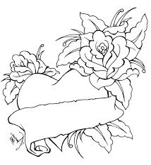 incredible exciting roses hearts coloring pages free download