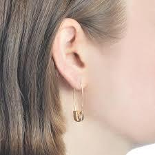 ear pin earrings 14k yellow gold safety pin earring klassen