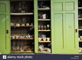 Kitchen Cupboard Shelving Large Green Old Fashioned Sliding Vintage English Victorian