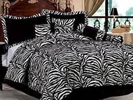 Zebra Print Duvet Cover Amazon Com 7 Piece Short Fur Safari Zebra Print Bed In A Bag