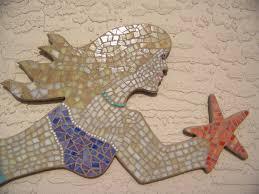 mosaic home decor blue wave glass mosaic mermaid wall art beach home decor